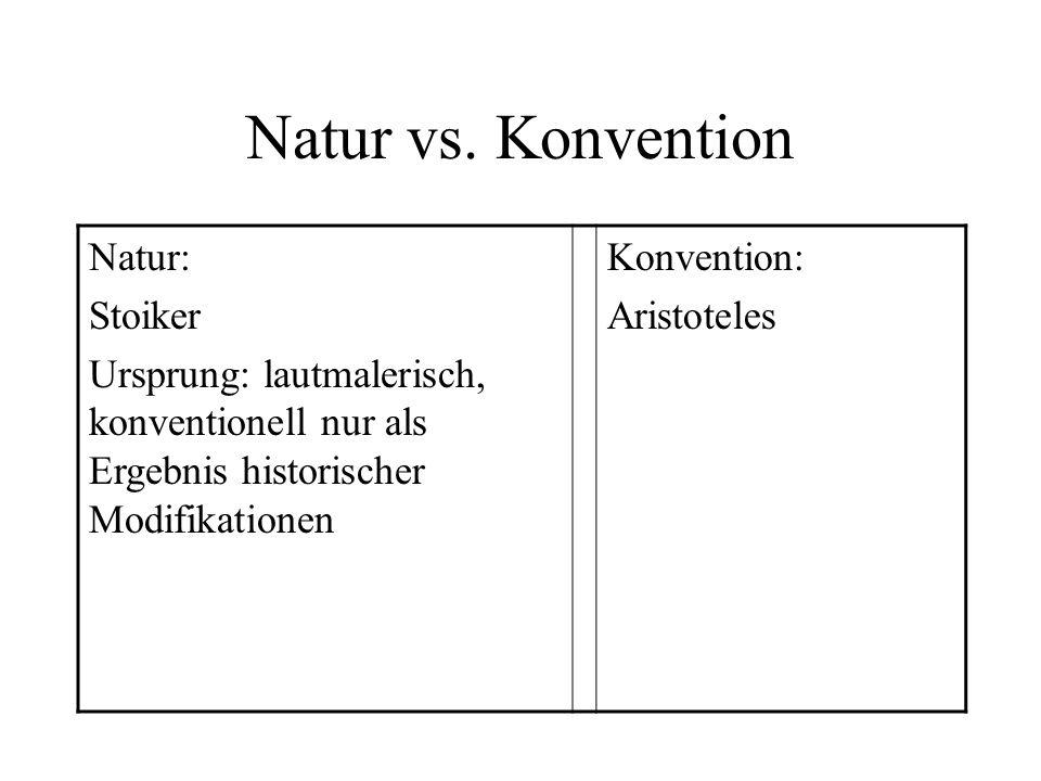 Natur vs. Konvention Natur: Stoiker Ursprung: lautmalerisch, konventionell nur als Ergebnis historischer Modifikationen Konvention: Aristoteles