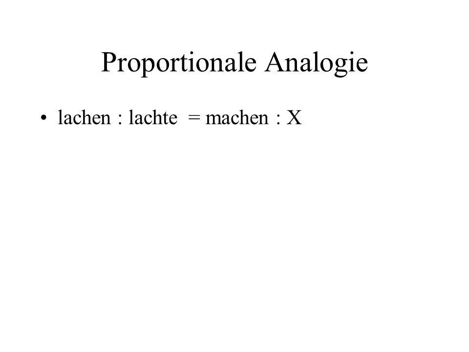 Proportionale Analogie lachen : lachte = machen : X