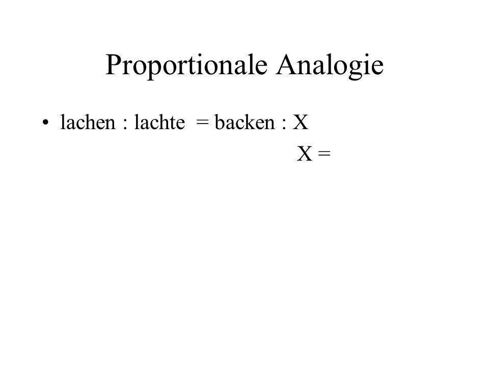 Proportionale Analogie lachen : lachte = backen : X X =