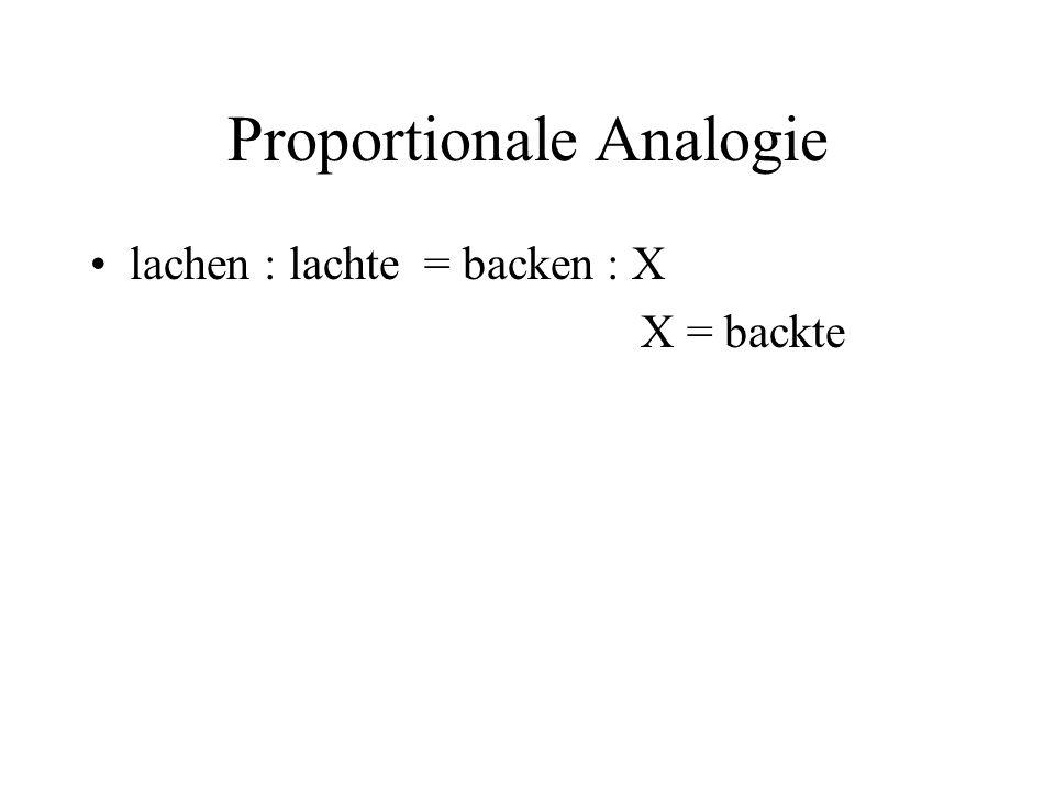 Proportionale Analogie lachen : lachte = backen : X X = backte
