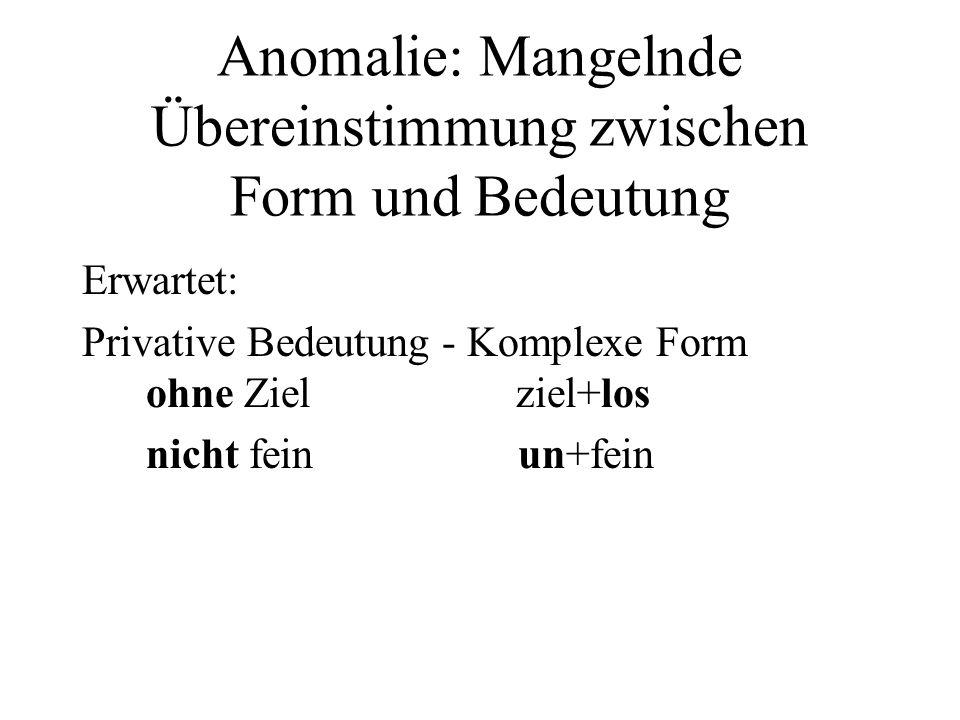 Anomalie: Mangelnde Übereinstimmung zwischen Form und Bedeutung Erwartet: Privative Bedeutung - Komplexe Form ohne Ziel ziel+los nicht fein un+fein