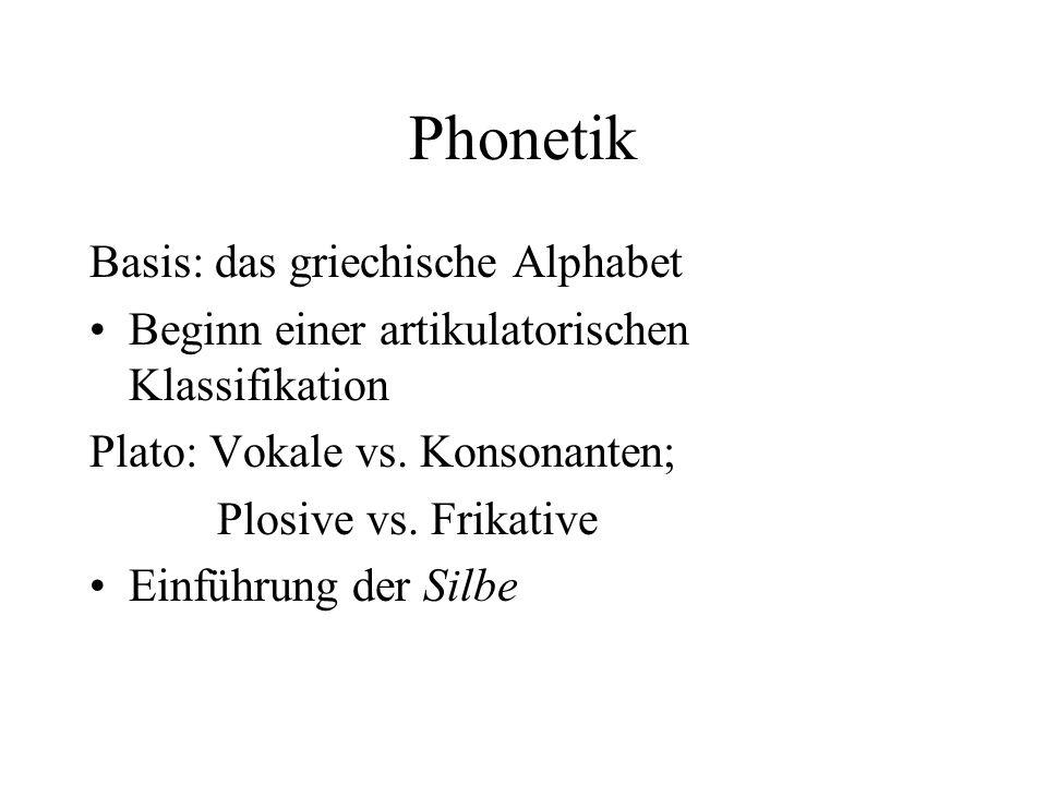 Phonetik Basis: das griechische Alphabet Beginn einer artikulatorischen Klassifikation Plato: Vokale vs. Konsonanten; Plosive vs. Frikative Einführung