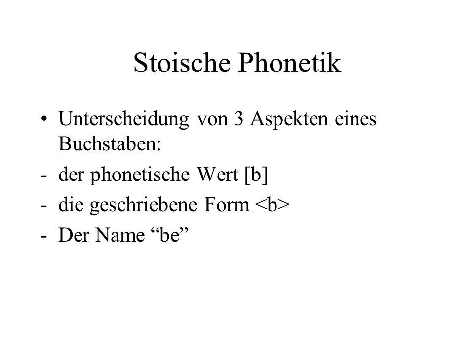 Stoische Phonetik Unterscheidung von 3 Aspekten eines Buchstaben: -der phonetische Wert [b] -die geschriebene Form -Der Name be