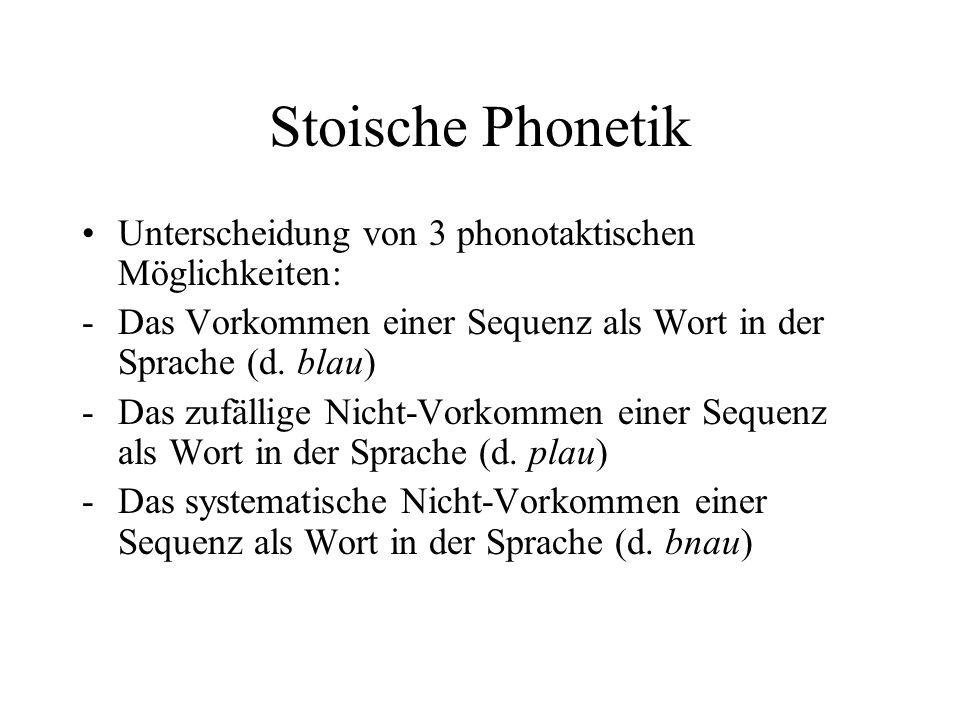 Stoische Phonetik Unterscheidung von 3 phonotaktischen Möglichkeiten: -Das Vorkommen einer Sequenz als Wort in der Sprache (d. blau) -Das zufällige Ni