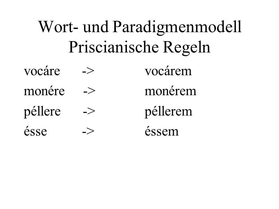 Wort- und Paradigmenmodell Priscianische Regeln vocáre -> monére -> péllere -> ésse -> vocárem monérem péllerem éssem