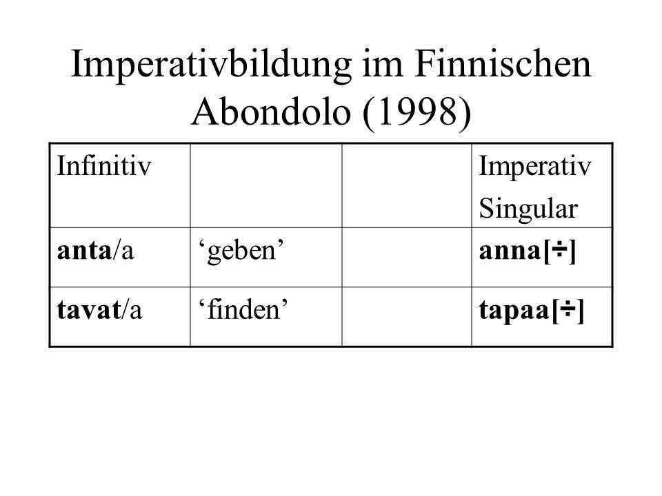 Imperativbildung im Finnischen Abondolo (1998) InfinitivImperativ Singular anta/ageben anna[ ÷ ] tavat/afinden tapaa[ ÷ ]