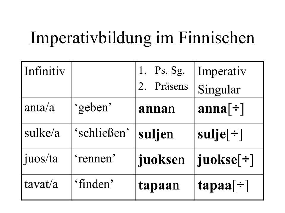 Imperativbildung im Finnischen Infinitiv 1.Ps. Sg. 2.Präsens Imperativ Singular anta/ageben annan anna[ ÷ ] sulke/aschließen suljen sulje[ ÷ ] juos/ta