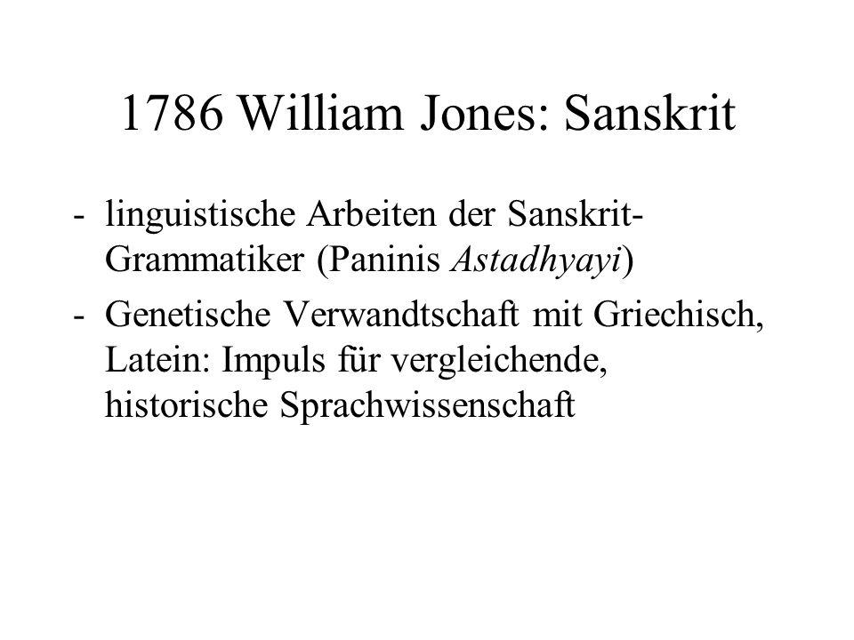 1786 William Jones: Sanskrit -linguistische Arbeiten der Sanskrit- Grammatiker (Paninis Astadhyayi) -Genetische Verwandtschaft mit Griechisch, Latein: