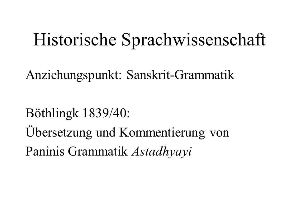 Historische Sprachwissenschaft Anziehungspunkt: Sanskrit-Grammatik Böthlingk 1839/40: Übersetzung und Kommentierung von Paninis Grammatik Astadhyayi