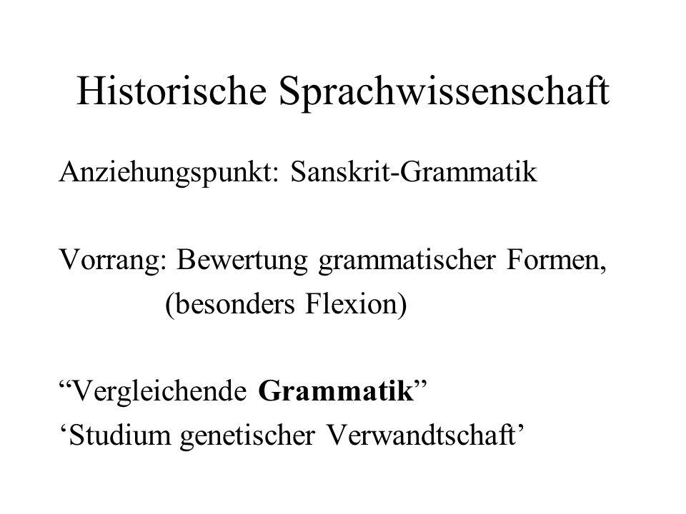 Historische Sprachwissenschaft Anziehungspunkt: Sanskrit-Grammatik Vorrang: Bewertung grammatischer Formen, (besonders Flexion) Vergleichende Grammati