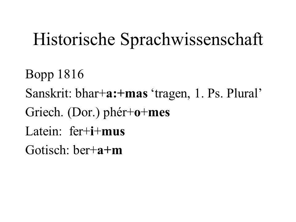 Historische Sprachwissenschaft Bopp 1816 Sanskrit: bhar+a:+mas tragen, 1. Ps. Plural Griech. (Dor.) phér+o+mes Latein: fer+i+mus Gotisch: ber+a+m