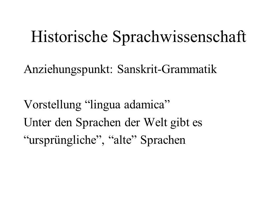 Historische Sprachwissenschaft Anziehungspunkt: Sanskrit-Grammatik Vorstellung lingua adamica Unter den Sprachen der Welt gibt es ursprüngliche, alte