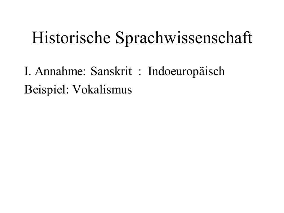 Historische Sprachwissenschaft I. Annahme: Sanskrit : Indoeuropäisch Beispiel: Vokalismus