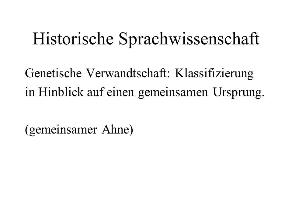 Historische Sprachwissenschaft Genetische Verwandtschaft: Klassifizierung in Hinblick auf einen gemeinsamen Ursprung. (gemeinsamer Ahne)