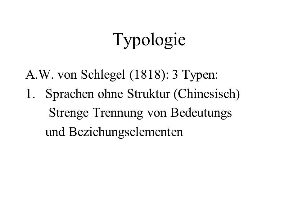 Typologie A.W. von Schlegel (1818): 3 Typen: 1.Sprachen ohne Struktur (Chinesisch) Strenge Trennung von Bedeutungs und Beziehungselementen