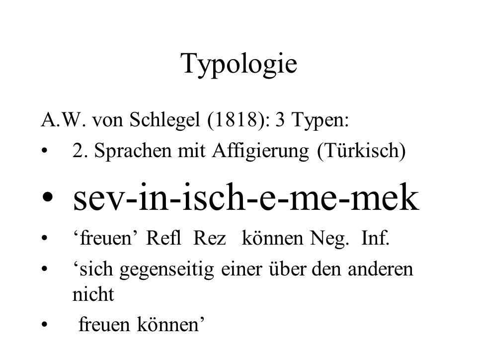 Typologie A.W. von Schlegel (1818): 3 Typen: 2. Sprachen mit Affigierung (Türkisch) sev-in-isch-e-me-mek freuen Refl Rez können Neg. Inf. sich gegense