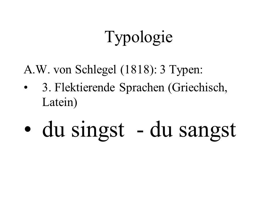 Typologie A.W. von Schlegel (1818): 3 Typen: 3. Flektierende Sprachen (Griechisch, Latein) du singst - du sangst