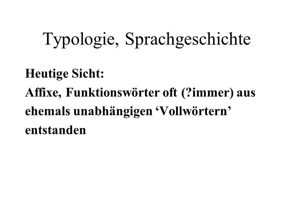 Typologie, Sprachgeschichte Heutige Sicht: Affixe, Funktionswörter oft (?immer) aus ehemals unabhängigen Vollwörtern entstanden
