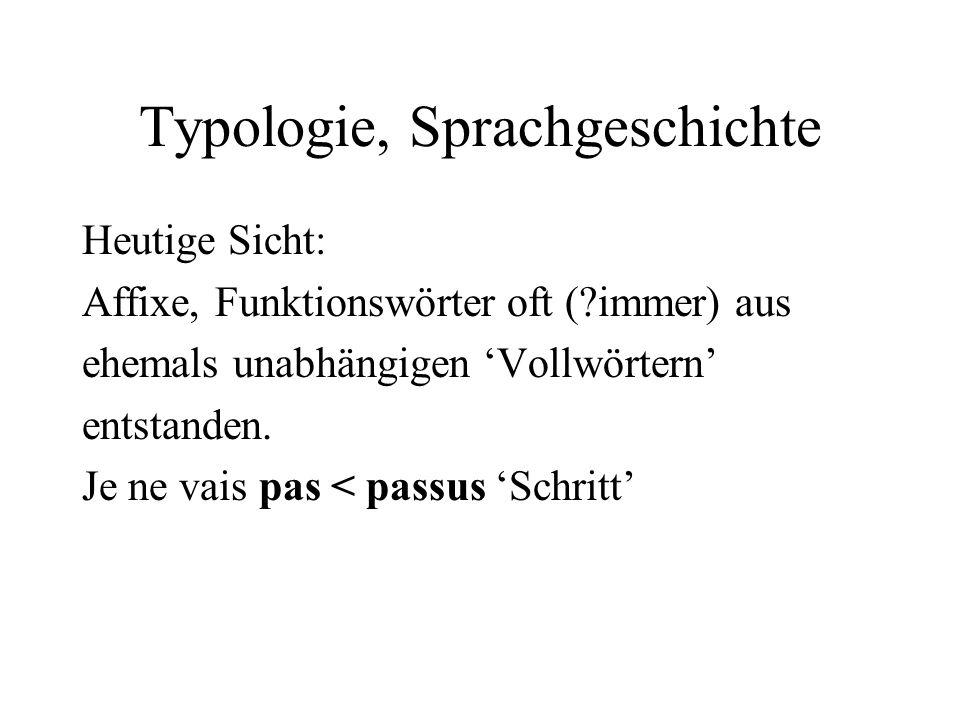 Typologie, Sprachgeschichte Heutige Sicht: Affixe, Funktionswörter oft (?immer) aus ehemals unabhängigen Vollwörtern entstanden. Je ne vais pas < pass