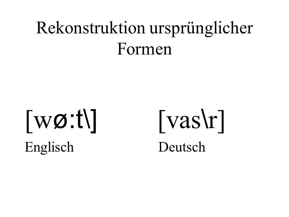 Rekonstruktion ursprünglicher Formen [w ø:t\] [vas \ r] Englisch Deutsch