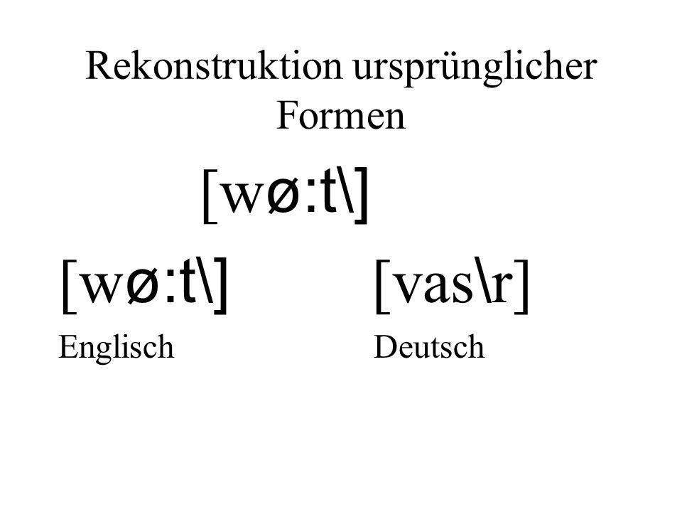 Rekonstruktion ursprünglicher Formen [w ø:t\] [w ø:t\] [vas \ r] Englisch Deutsch
