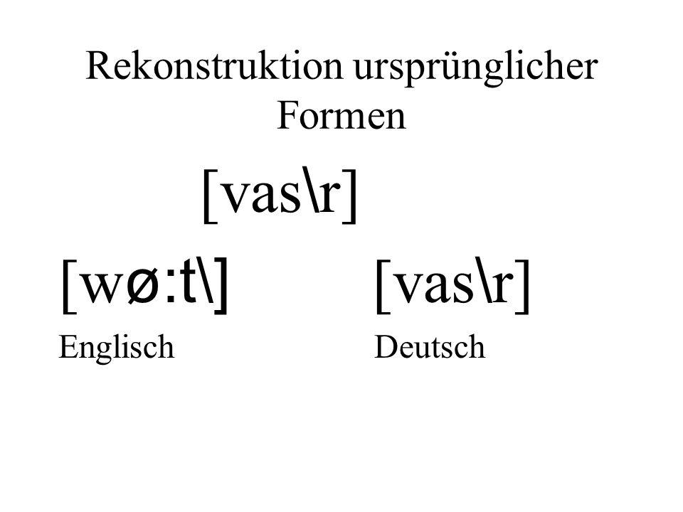 Rekonstruktion ursprünglicher Formen [vas \ r] [w ø:t\] [vas \ r] Englisch Deutsch