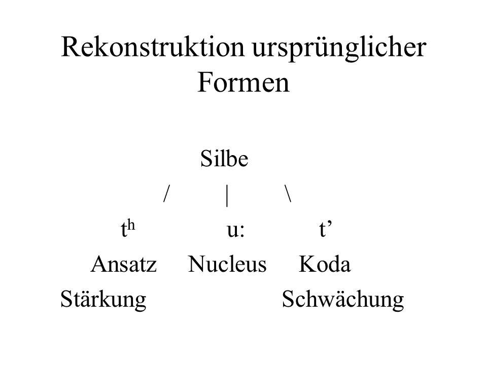 Rekonstruktion ursprünglicher Formen Silbe / | \ t h u: t Ansatz Nucleus Koda Stärkung Schwächung