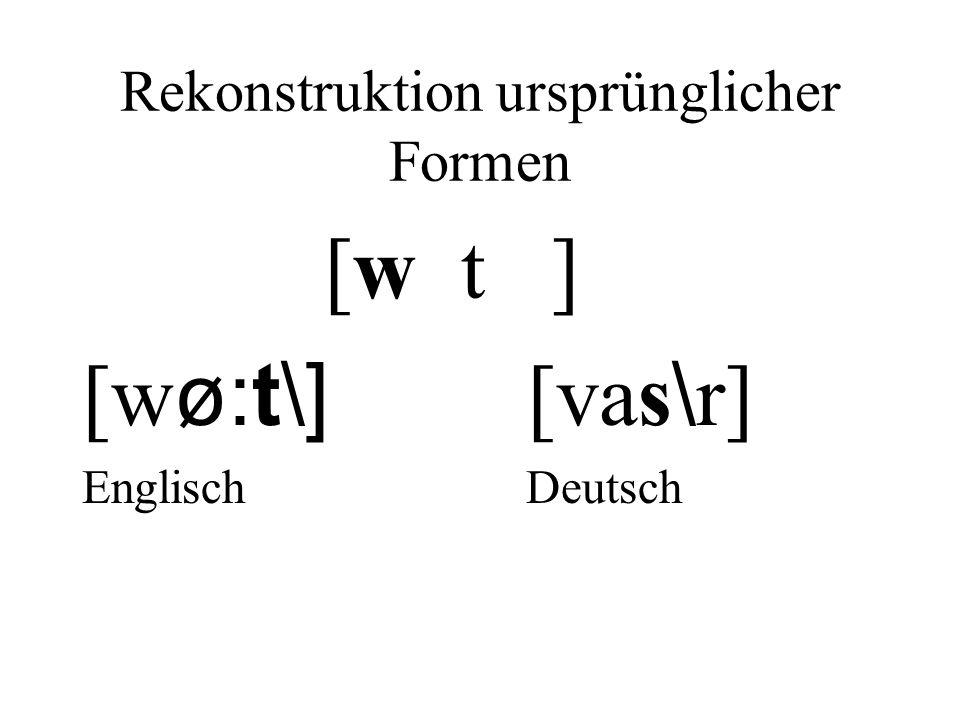 Rekonstruktion ursprünglicher Formen [w t ] [w ø:t\] [vas \ r] Englisch Deutsch