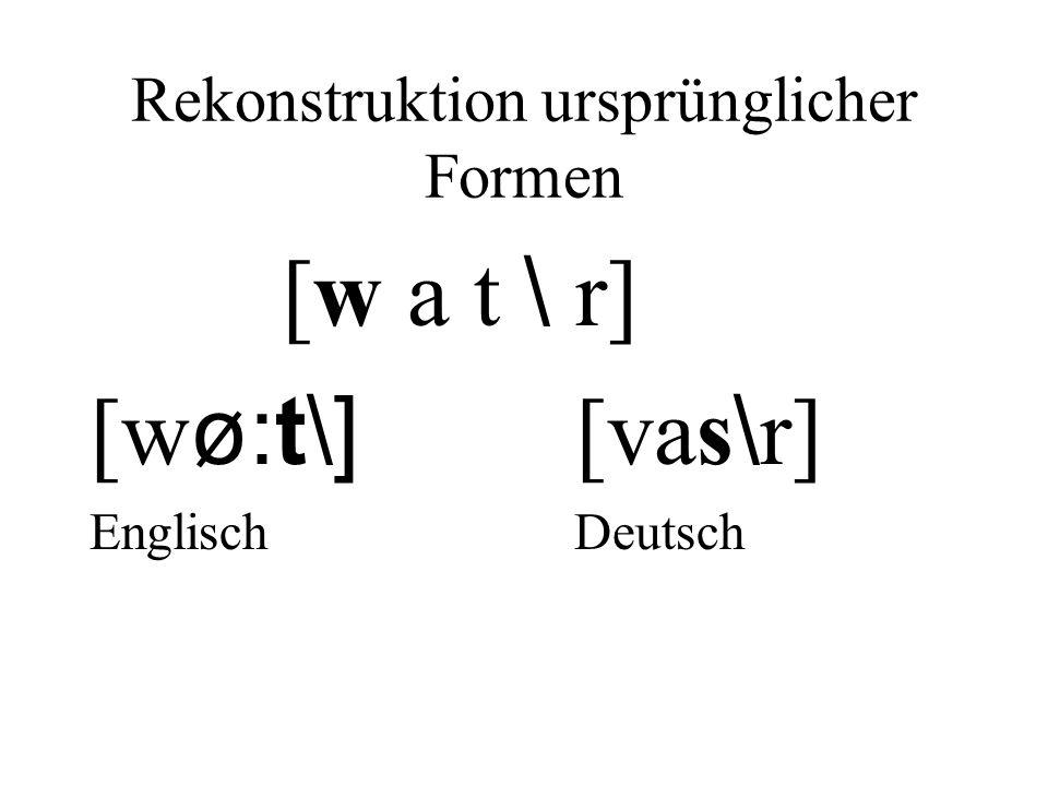 Rekonstruktion ursprünglicher Formen [w a t \ r] [w ø:t\] [vas \ r] Englisch Deutsch