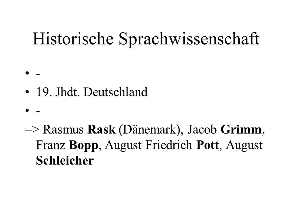 Historische Sprachwissenschaft - 19. Jhdt. Deutschland - => Rasmus Rask (Dänemark), Jacob Grimm, Franz Bopp, August Friedrich Pott, August Schleicher