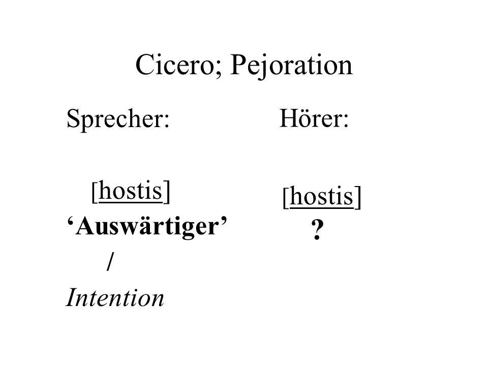 Cicero; Pejoration Sprecher: [ hostis] Auswärtiger / Intention [ hostis] ? Hörer: