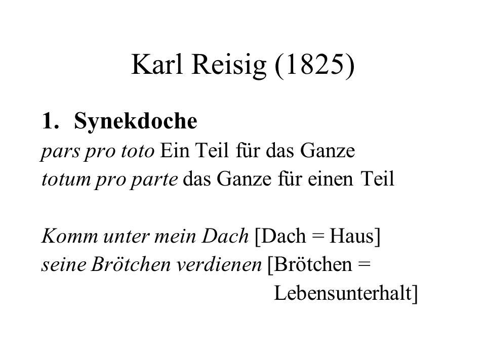 Karl Reisig (1825) 1.Synekdoche pars pro toto Ein Teil für das Ganze totum pro parte das Ganze für einen Teil Komm unter mein Dach [Dach = Haus] seine Brötchen verdienen [Brötchen = Lebensunterhalt]
