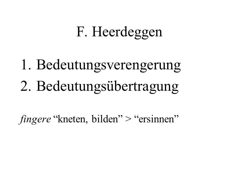 F. Heerdeggen 1.Bedeutungsverengerung 2.Bedeutungsübertragung fingere kneten, bilden > ersinnen