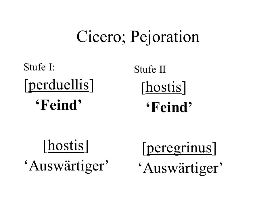 Cicero; Pejoration Stufe I: [perduellis] Feind [hostis] Auswärtiger Stufe II [ hostis] Feind [peregrinus] Auswärtiger