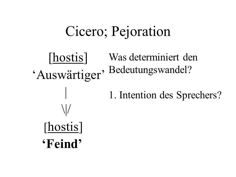 Cicero; Pejoration [hostis] Auswärtiger | \|/ [ hostis] Feind Was determiniert den Bedeutungswandel.