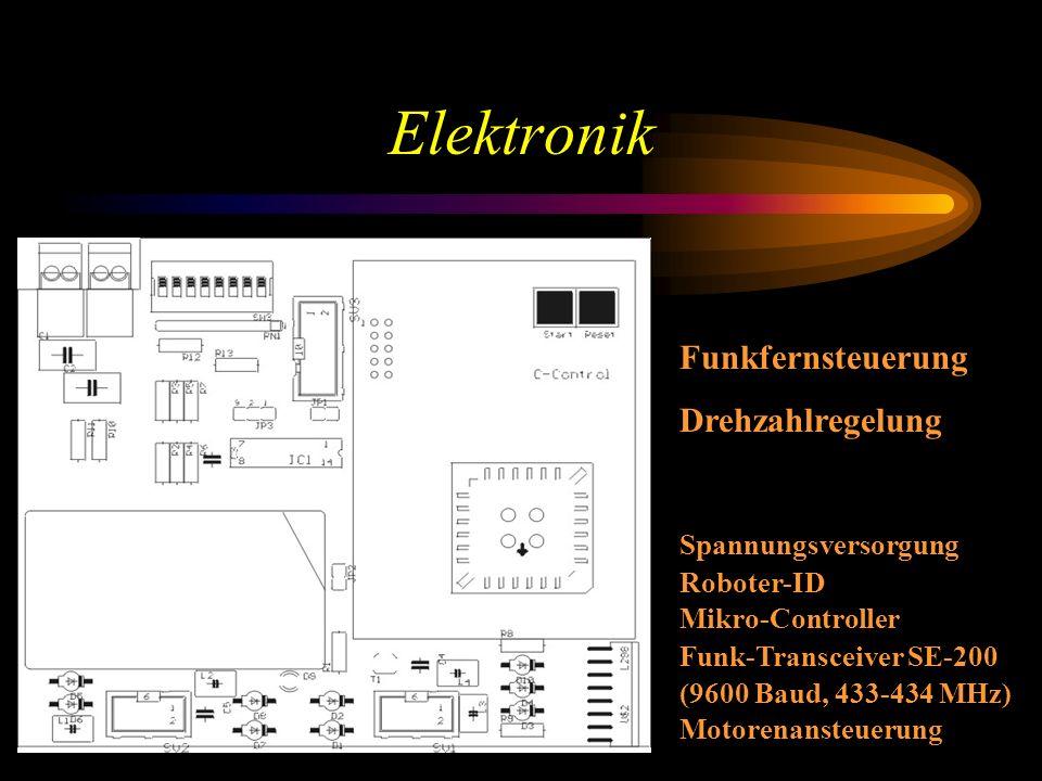Elektronik Spannungsversorgung Roboter-ID Mikro-Controller Funk-Transceiver SE-200 (9600 Baud, 433-434 MHz) Motorenansteuerung Funkfernsteuerung Drehzahlregelung