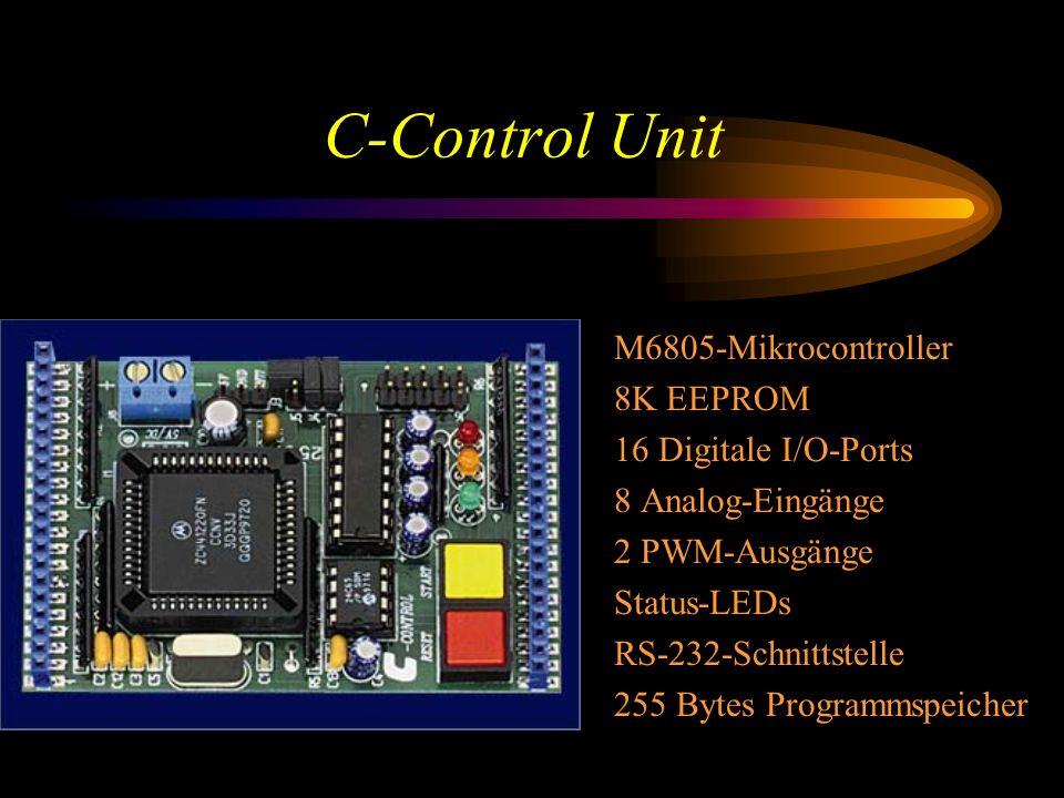 C-Control Unit M6805-Mikrocontroller 8K EEPROM 16 Digitale I/O-Ports 8 Analog-Eingänge 2 PWM-Ausgänge Status-LEDs RS-232-Schnittstelle 255 Bytes Programmspeicher