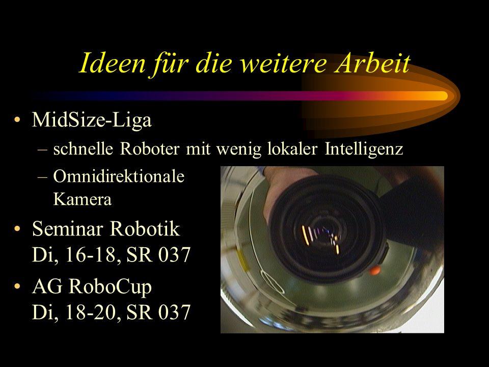 Ideen für die weitere Arbeit MidSize-Liga –schnelle Roboter mit wenig lokaler Intelligenz –Omnidirektionale Kamera Seminar Robotik Di, 16-18, SR 037 AG RoboCup Di, 18-20, SR 037
