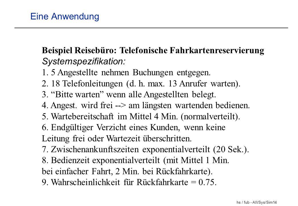 hs / fub - AWSys/Sim14 Eine Anwendung Beispiel Reisebüro: Telefonische Fahrkartenreservierung Systemspezifikation: 1. 5 Angestellte nehmen Buchungen e