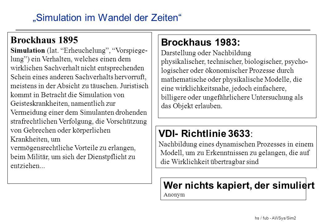 hs / fub - AWSys/Sim2 Simulation im Wandel der Zeiten Brockhaus 1895 Simulation (lat. Erheuchelung, Vorspiege- lung) ein Verhalten, welches einen dem