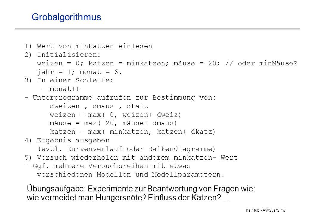 hs / fub - AWSys/Sim7 Grobalgorithmus 1) Wert von minkatzen einlesen 2) Initialisieren: weizen = 0; katzen = minkatzen; mäuse = 20; // oder minMäuse?