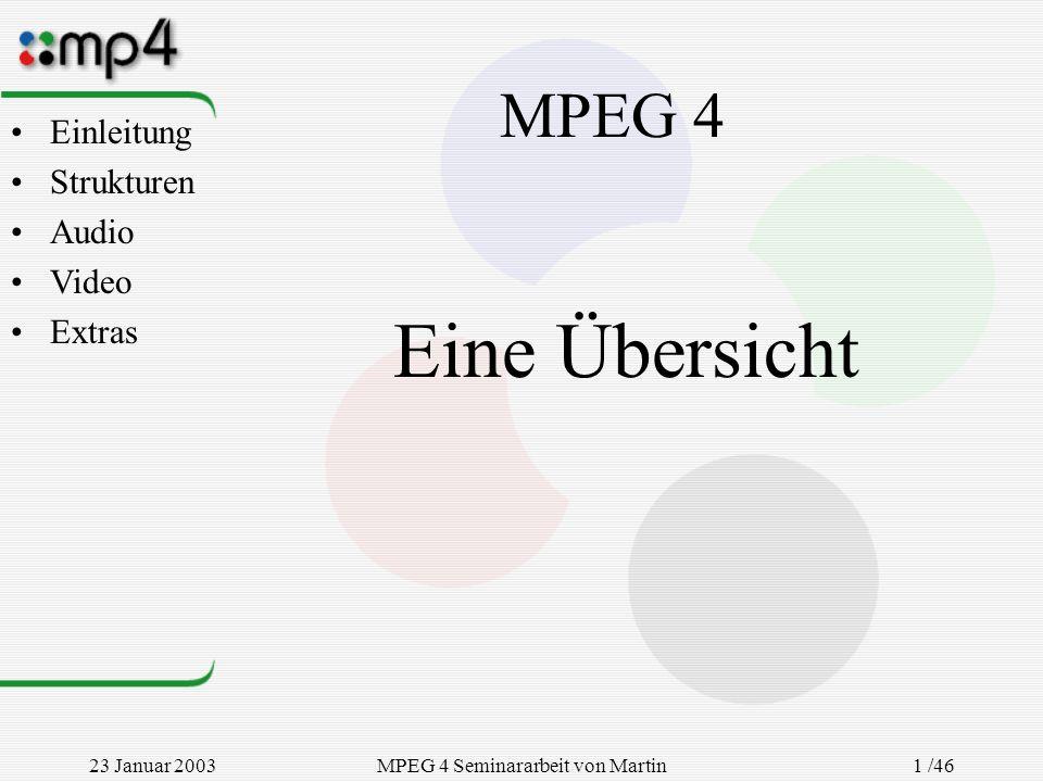 23 Januar 2003MPEG 4 Seminararbeit von Martin Goralczyk 1 /46 MPEG 4 Eine Übersicht Einleitung Strukturen Audio Video Extras