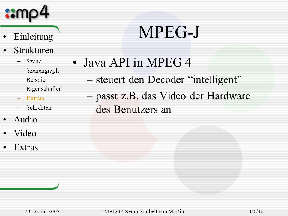 23 Januar 2003MPEG 4 Seminararbeit von Martin Goralczyk 18 /46 MPEG-J Java API in MPEG 4 –steuert den Decoder intelligent –passt z.B. das Video der Ha