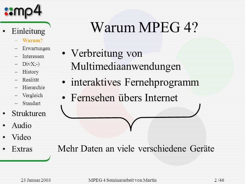 23 Januar 2003MPEG 4 Seminararbeit von Martin Goralczyk 2 /46 Warum MPEG 4? Verbreitung von Multimediaanwendungen interaktives Fernehprogramm Fernsehe
