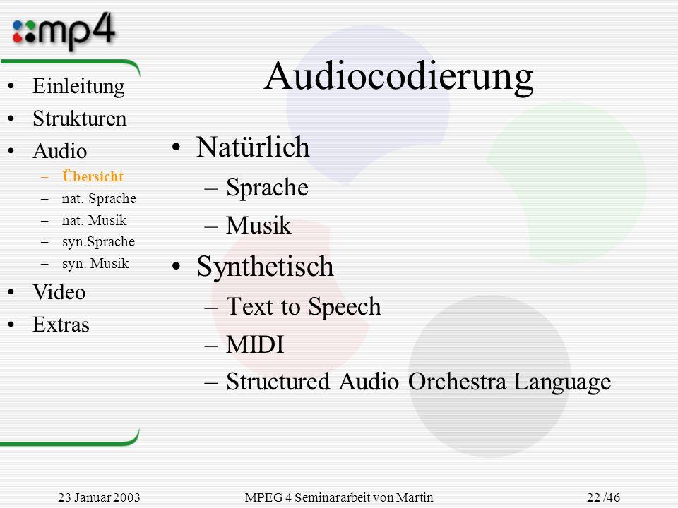 23 Januar 2003MPEG 4 Seminararbeit von Martin Goralczyk 22 /46 Audiocodierung Natürlich –Sprache –Musik Synthetisch –Text to Speech –MIDI –Structured
