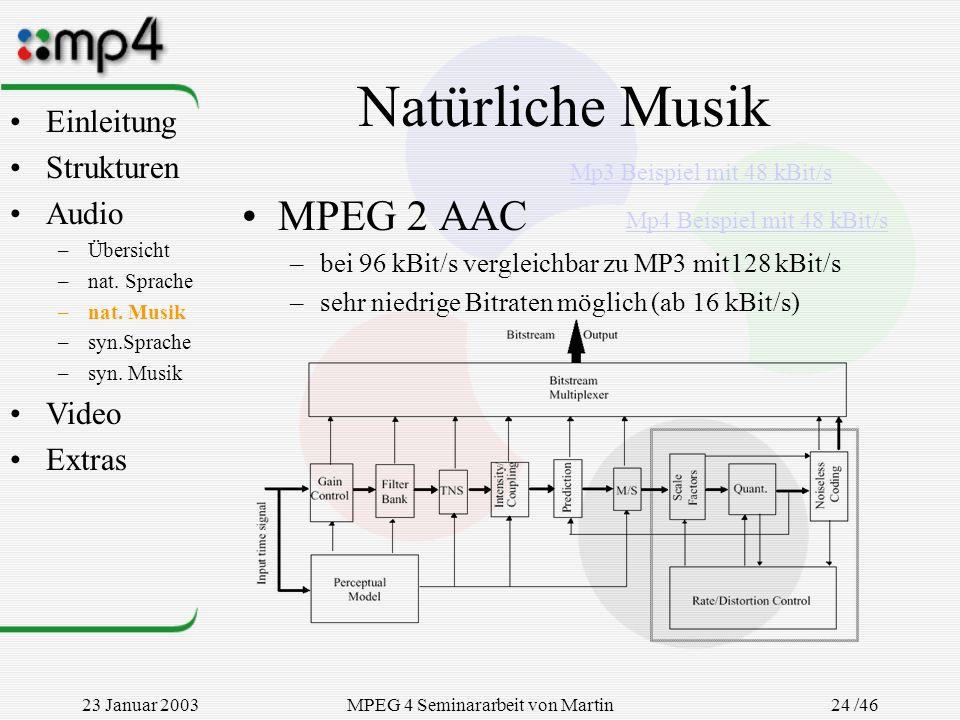 23 Januar 2003MPEG 4 Seminararbeit von Martin Goralczyk 24 /46 Natürliche Musik MPEG 2 AAC –bei 96 kBit/s vergleichbar zu MP3 mit128 kBit/s –sehr nied