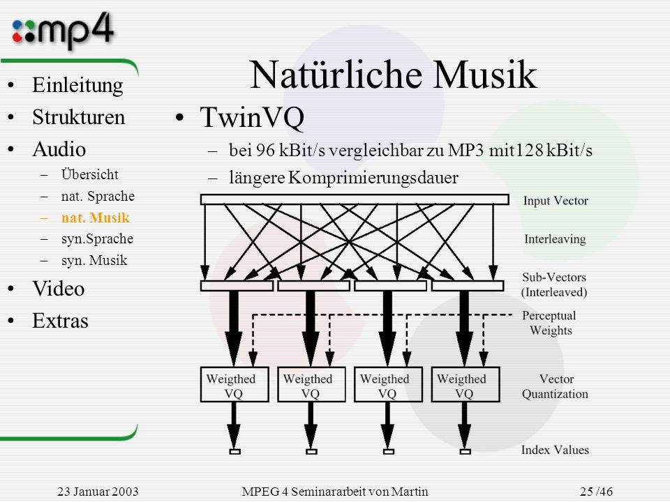23 Januar 2003MPEG 4 Seminararbeit von Martin Goralczyk 25 /46 Natürliche Musik TwinVQ –bei 96 kBit/s vergleichbar zu MP3 mit128 kBit/s –längere Kompr