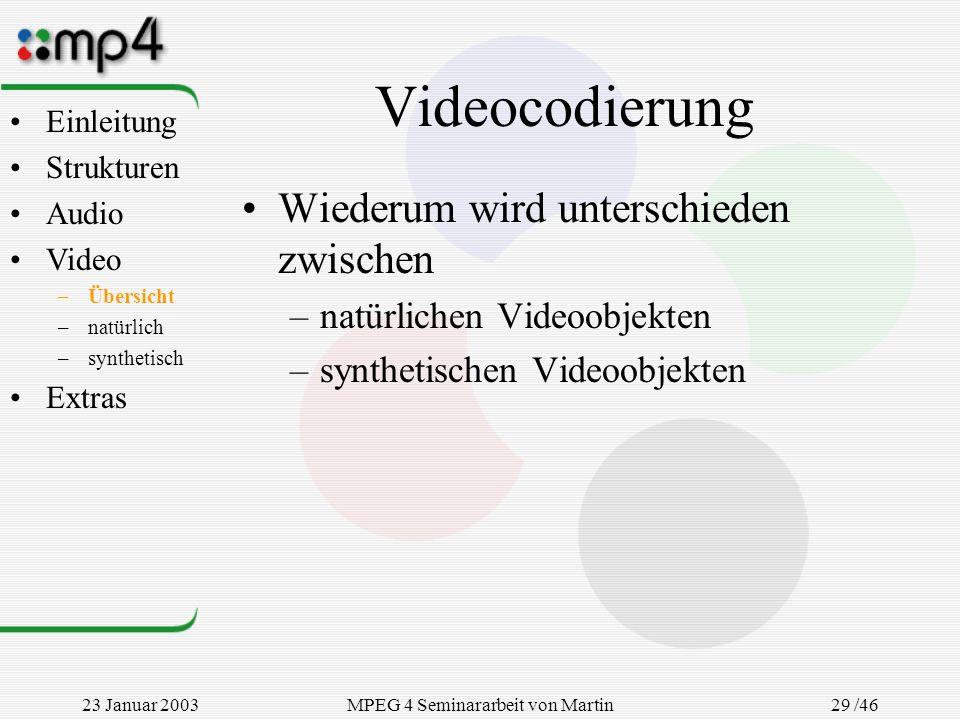 23 Januar 2003MPEG 4 Seminararbeit von Martin Goralczyk 29 /46 Videocodierung Wiederum wird unterschieden zwischen –natürlichen Videoobjekten –synthet