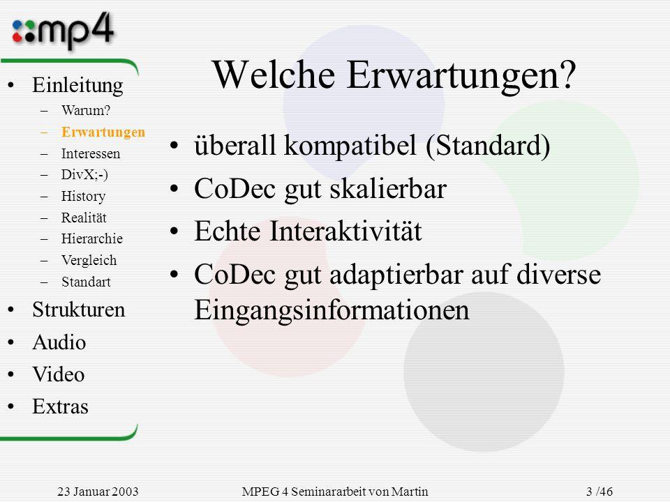 23 Januar 2003MPEG 4 Seminararbeit von Martin Goralczyk 3 /46 Welche Erwartungen? überall kompatibel (Standard) CoDec gut skalierbar Echte Interaktivi