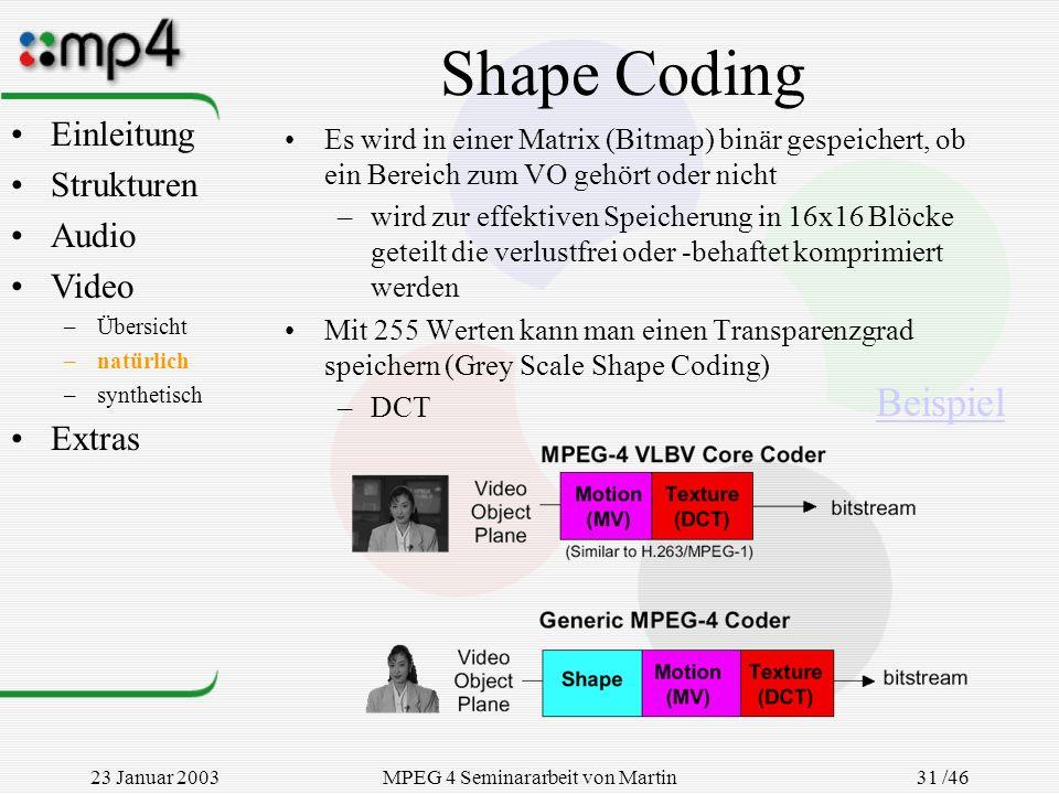23 Januar 2003MPEG 4 Seminararbeit von Martin Goralczyk 31 /46 Shape Coding Es wird in einer Matrix (Bitmap) binär gespeichert, ob ein Bereich zum VO